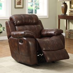 brown microfiber, this rocking reclining chair is overstuffed ...