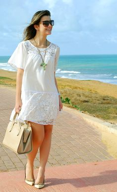 find more at Casual Dresses For Teens, Daytime Dresses, Simple Dresses, Pretty Dresses, White Fashion, Girl Fashion, Fashion Dresses, All White Party Outfits, Look Boho