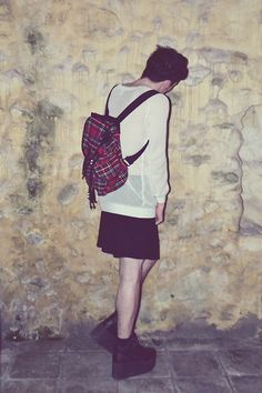 Get this look: http://lb.nu/look/5604929  More looks by Gwendal P.: http://lb.nu/user/477965-Gwendal-P  Items in this look:  Thrifted Transparent Weater, Tartan Bagpack, H&M Black Skirt, Yru Qozmo Hi Platform Shoes   #huntress