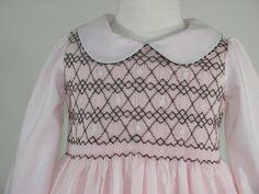 SALE Long Sleeves Smocked dresses dress, Girl's smocked dress long sleeved, brown and pink smocked dress