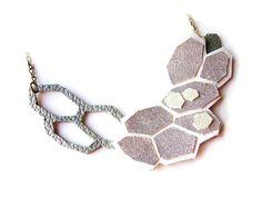 Metallic Geometric Necklace Silver Leather Hexagons. $48,00, via Etsy.