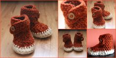 Crochet baby Booties with wooden buttons. Size 9-12 months.