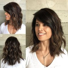 Wavy+Medium+Length+Brunette+Hairstyle