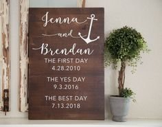 Nautical Love Story Wedding Day Sign Bride and Groom gift Bridal Shower Gift