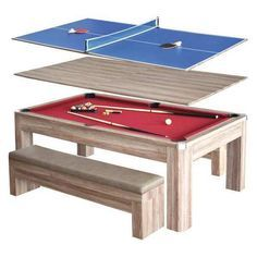 Dining Room Table Converts To Pool Table And Tv Is Behind