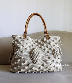 Crochet Jute celebrity style handbag with genuine leather handles and matching wallet, crochet oversized tote bag, fashion handbag 2014