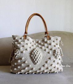 Crochet Jute celebrity style handbag with genuine leather handles and matching wallet, crochet oversized tote bag, fashion handbag 2014