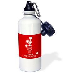 3dRose Portuguese Rooster and caption keep calm and learn portuguese, Sports Water Bottle, 21oz, White