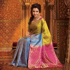 Pothys proudly presents the best destination for Silk Sarees online shopping. Buy Pure silk sarees, wedding silk sarees online and make your D - days festive. Absolute fashions including dresses for women, Men and Kids. South Indian Sarees, Indian Silk Sarees, Indian Bridal Outfits, Indian Bridal Wear, Indian Wear, Indian Style, Indian Fashion Trends, India Fashion, Women's Fashion