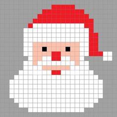 Crochet Santa Pixel Square - Repeat Crafter Me Crochet Santa, Christmas Crochet Patterns, Holiday Crochet, Christmas Knitting, Christmas Cross, Crochet Pixel, C2c Crochet, Tapestry Crochet, Crochet Chart