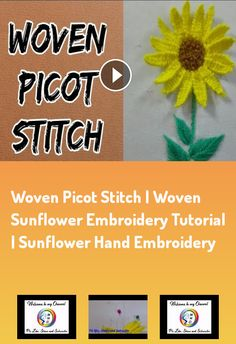 Woven picot stitch | woven sunflower embroidery tutorial | sunflower hand embroidery Woven#picot#stitch##woven#sunflower#embroidery#tutorial##sunflower#hand#embroidery##sunflower#picot#stitch Ribbon Embroidery, How To Apply, Stitch, Fabric, Crafts, Tejido, Full Stop, Stitches, Cloths