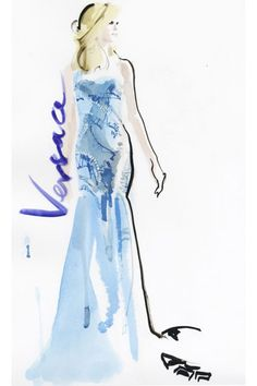Versace couture, Fall 2012. David Downton illustration.