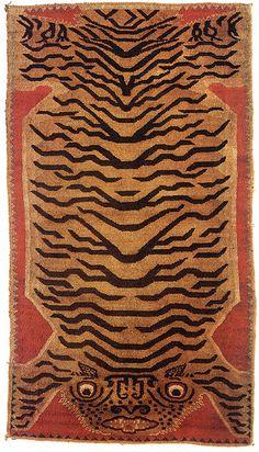 19th-century Tibetan Tiger rug.