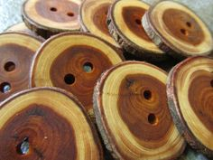 10 Yew Wood Tree Branch Buttons. Just Over by PymatuningCrafts, $8.50