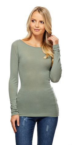 Kookai - Soho Long Sleeve Boat Neck Top - Moss - $60