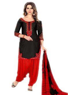 f857c9815b Magnificent Black And Red Glaze Cotton Embroidered Party Wear Patiyala  Salwar Suit Latest Salwar Kameez,