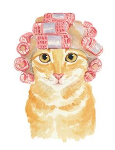watercolor cat..you so need this to hang in a bathroom. Or maybe paint one yourself @Aimée Gillespie Cass