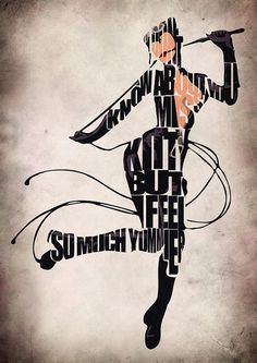 Catwoman Inspired Typographic Print and Poster by GeekMyWalL, $25.00