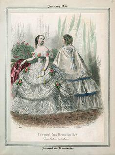 In the Swan's Shadow: Journal des Demoiselles, January 1858.  Civil War Era Fashion Plate