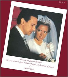 Alexandra, Archduchess of Austria, ten years earlier in 1984, wore the same gold and diamond tiara when she wed Hector Riesle on 15 September