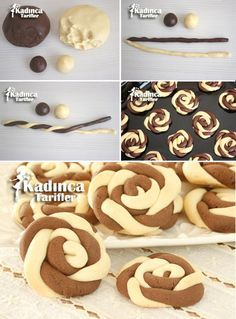 Wind Rose Cookies Recipe, How To? Rose Cookies, Cookies Et Biscuits, Baking Recipes, Cookie Recipes, Dessert Recipes, Yummy Cookies, Christmas Desserts, Creative Food, Sweet Recipes