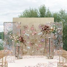 A unique outdoor wedding stage. Coral Wedding Decorations, Stage Decorations, Photo Booth Backdrop, Photo Booths, Ceremony Backdrop, Backdrop Wedding, Tea Ceremony, Wedding Stage, Wedding Arches