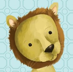 """Rauri the Lion, Blue"" nursery art by Meghann O'Hara for Oopsy daisy, Fine Art for Kids $49"