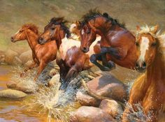 Wild horses painting by Bonnie Marris