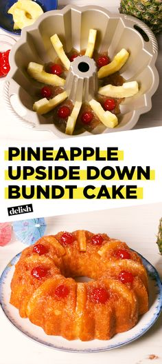 Easy Cake : Pineapple Upside Down Bundt Cake is the next best thing to a tropical VacaDelish, Cake Pineapple, Pineapple Upside Down Bundt Cake Recipe, Pineapple Recipes, Pineapple Juice, Mango Upside Down Cake, Pineapple Glaze, Crushed Pineapple, Köstliche Desserts, Delicious Desserts