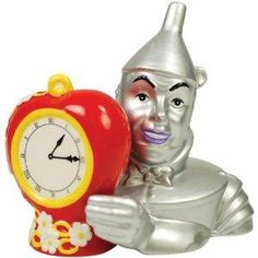 The Wizard of Oz Magnetic Tin Man and Heart Clock Salt and Pepper Shaker Set