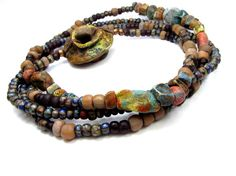 Ragged Robyn Beads, glass beads, clay... Reversible LOW SUN Necklace - Cog Boho Bead Necklace, Contemporary Jewellery Necklace, Handmade Artisan Ceramic Bead Jewellery