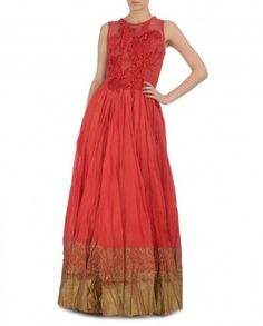 Coral Red Sleeveless Dress by Samant Chauhan