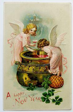 Ангелы в розовый для перемешивания вверх новый год размышлял вина дырокола дозой открытка Вышитый