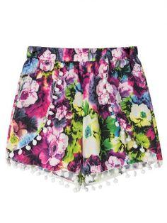Purple Floral Print Elastic Waist Pom Pom Shorts