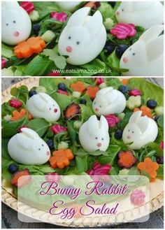 Bunny Rabbit Easter Salad ~ This healthy Bunny Rabbit Easter Salad is sure to be the star of your Easter Menu, such a fun Easter food idea that kids will love! With boiled egg rabbits! ~ from Eats Amazing