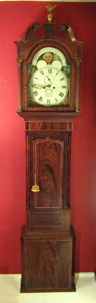 Magnificent mahogany Longcase clock by Bacon of Barton. Early 19th century.