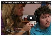 This is such a wonderful video that really helps to explain how sensory techniques can help some individuals to learn activities of daily living.  It also helps to demonstrate that certain skills can take a long time to learn but the goal is achievable.  The OT breaks the skill down, offers preparatory activities, slowly introduces the shaving equipment followed by parent education helping this young man to be successful!