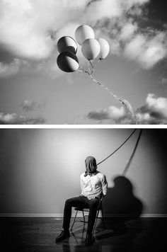 The artist is fighting depression sometimes try to find an escape through their medium, just like Edward Honaker with his self-portrait project. He has created a portfolio of images that shows how he feels depression. Conceptual Photography, Portrait Photography, Narrative Photography, Edward Honaker, Mental Health Art, A Level Art, White Image, Dark Art, Awesome