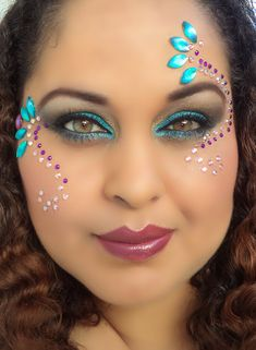 Turquoise and Purple, Rhinestone  Makeup, Carnival Makeup, Insatiable Makeup, Makeup by Ria, Trinidad and Tobago