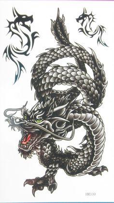 - Great Dragon Tattoos Designs Ideas: Black Ink Oriental Dragon Tattoo Design … – Great D - Oriental Dragon Tattoo, Japanese Dragon Tattoos, Black Dragon Tattoo, Dragon Tattoos For Men, Dragon Henna, Music Tattoo Designs, Dragon Tattoo Designs, African Warrior Tattoos, Music Symbol Tattoo