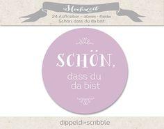 Sprüche & Slogans - Aufkleber Hochzeit schön dass du da bist flieder - ein Designerstück von dippeldi-und-scribble bei DaWanda