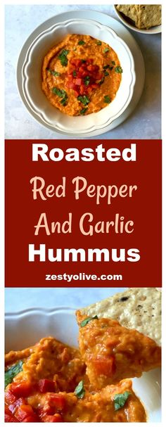 Roasted Red Pepper And Garlic Hummus – a quick and easy appetizer dip for hummus lovers! Can make in your Vitamix!