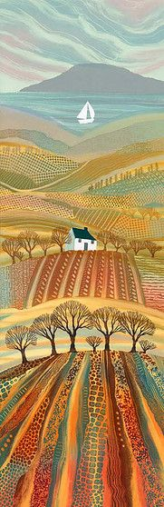 Promised Land monotype by Northumberland landscape artist Rebecca Vincent