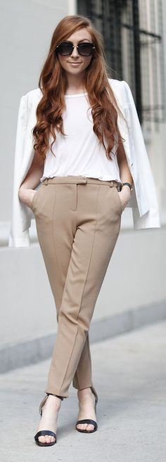 Retro Flame Fall Transition Outfit Idea. White blazer, blouse, beige pants. women fashion outfit clothing style apparel @roressclothes closet ideas
