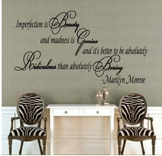 Marilyn Monroe Quote Wall Decal Imperfection Is by SignJunkies