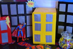 Talented Terrace Girls: Munchkin Monday: Superman Party. Duct taped cardboard boxes