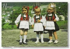 Girls dressed in Norweigian National costumes, Norway