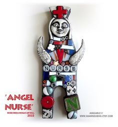 ANGEL NURSE  MIXED MEDIA MOSAIC ART DOLL ASSEMBLAGE CONTEMPORARY ART STAINED GLASS AND POLYMER CLAY ART