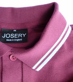 Burgundy polo shirt, J516, with light blue trim.   Shirt and fabric are all made here in England.    100% cotton, 3 button placket, available in a variety of colour combinations. http://www.josery.com/collections/mens-polos/products/j516-burgundy-polo-shirt-with-light-blue-tip-and-stripe