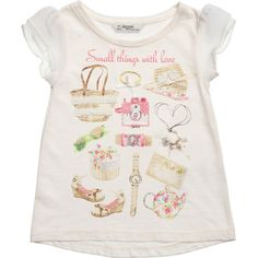 Girls Ivory Printed T-Shirt, Mayoral, Girl